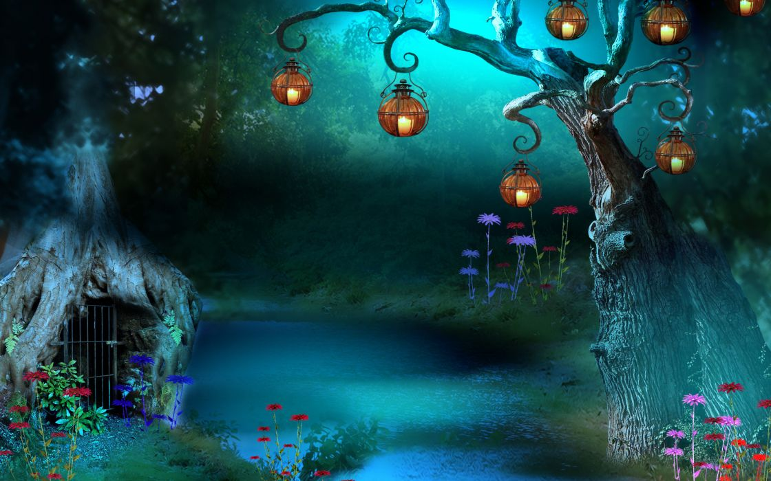 river tree lanterns 3d e wallpaper