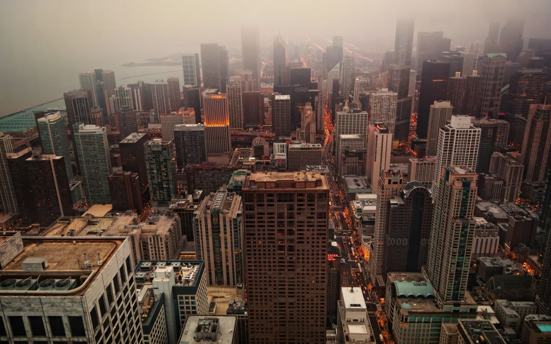 united states  city  Chicago  homes  could  mist  morning  evening fog wallpaper