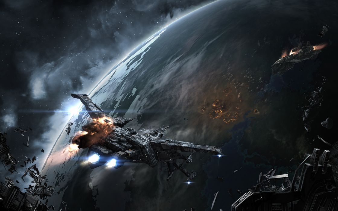 EVE online Ships Planets Games Space spaceship planet sci-fi wallpaper