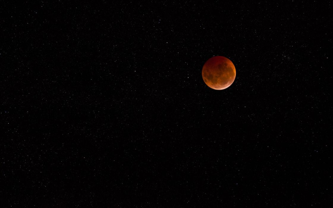moon lunar eclipse stars sky wallpaper