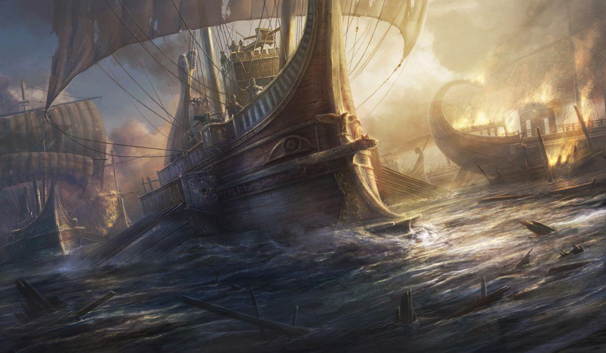 Ships Sailing Total War Games wallpaper