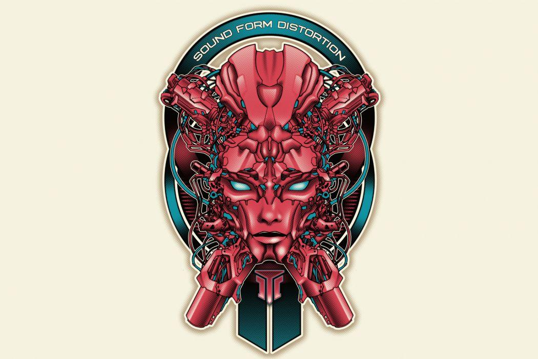 sound form distortion cyborg cyborgs robot robots wallpaper