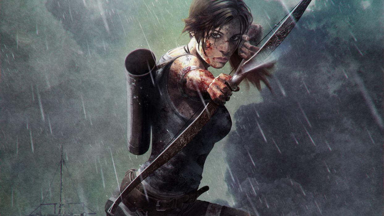 Tomb Raider 2013 Archers Warriors Rain Games Girls rain wallpaper