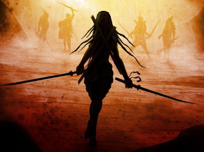 Warriors Swords Fantasy Girls warrior wallpaper