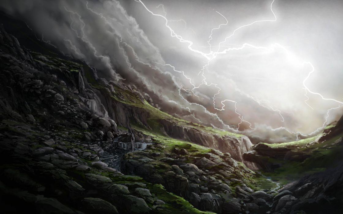 Art  lightning  glen  stones  slope waterfall rain storm clouds landscape wallpaper