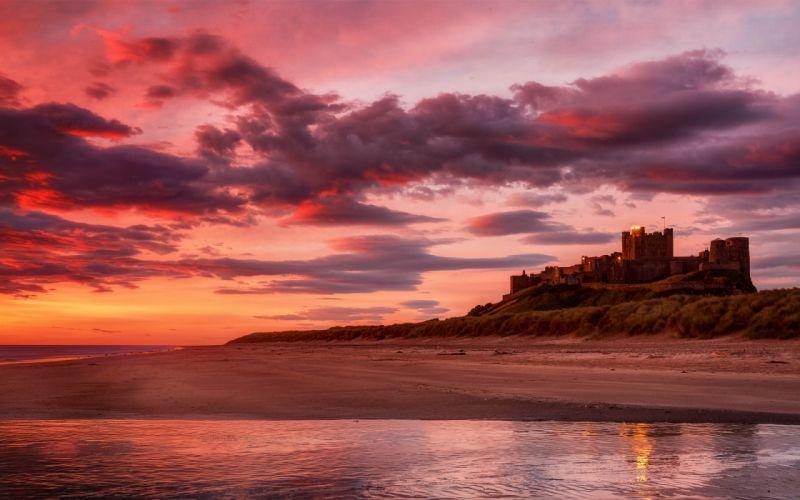 Beach sun sea sand castle sunset wallpaper