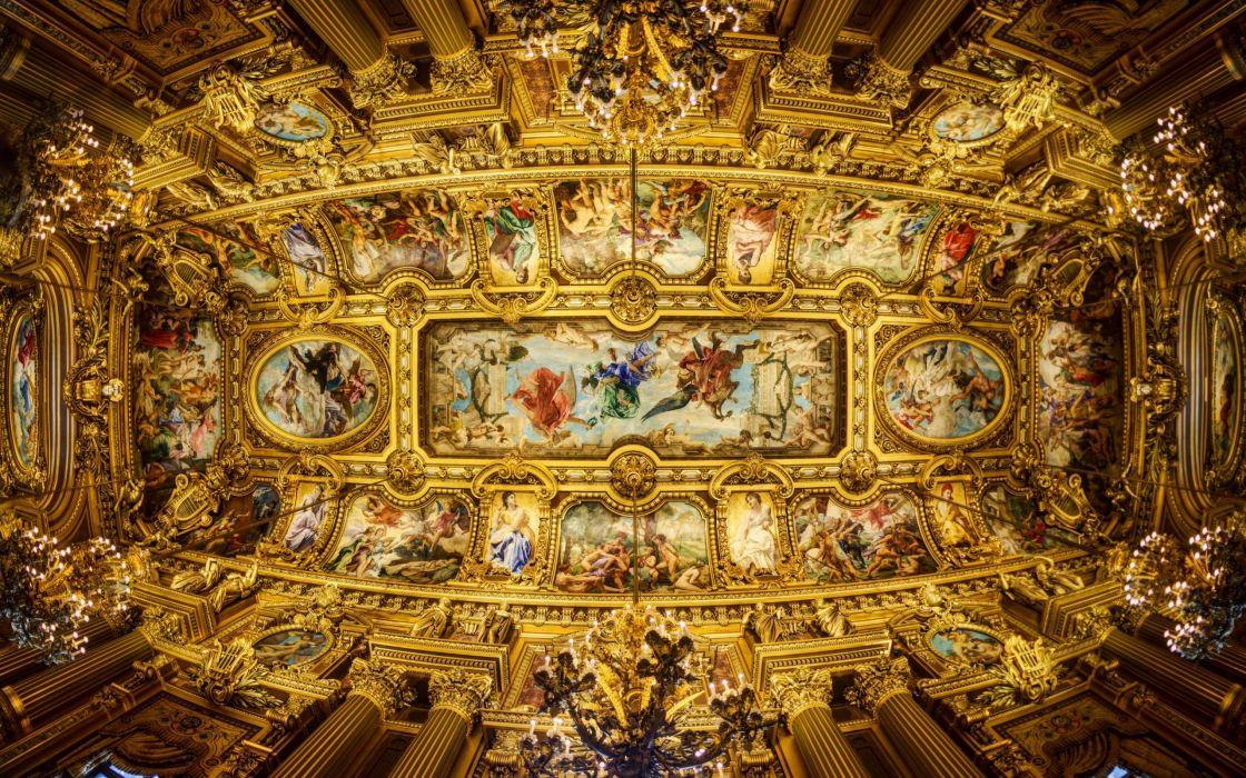 Paris Opera Grand Garnier ceiling painting chandeliers columns paintings wallpaper
