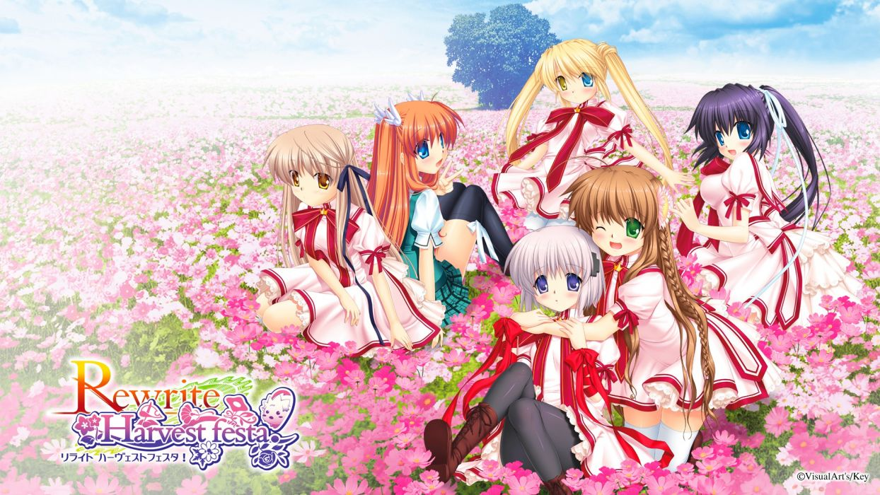 rewrite black hair blonde hair blue eyes brown hair flowers green eyes group key purple eyes red eyes rewrite seifuku senri akane visualart white hair wallpaper