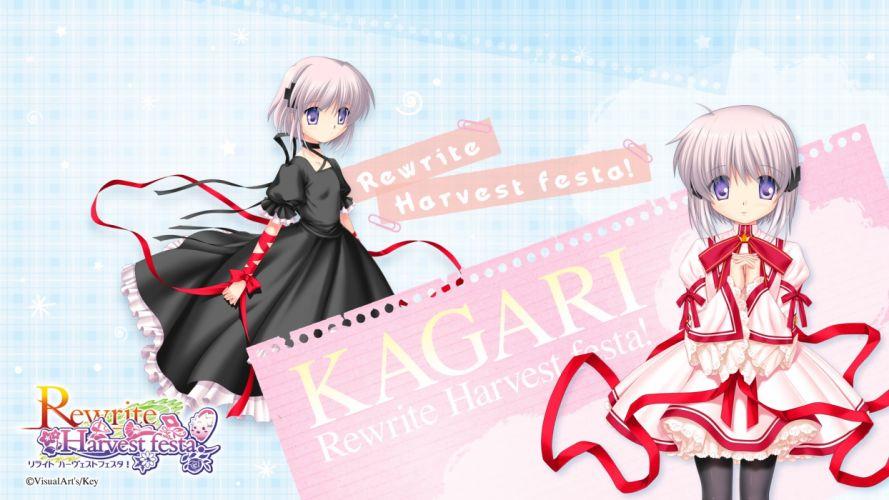 rewrite bow kagari ey paper purple eyes rewrite ribbons seifuku visualart white hair wallpaper