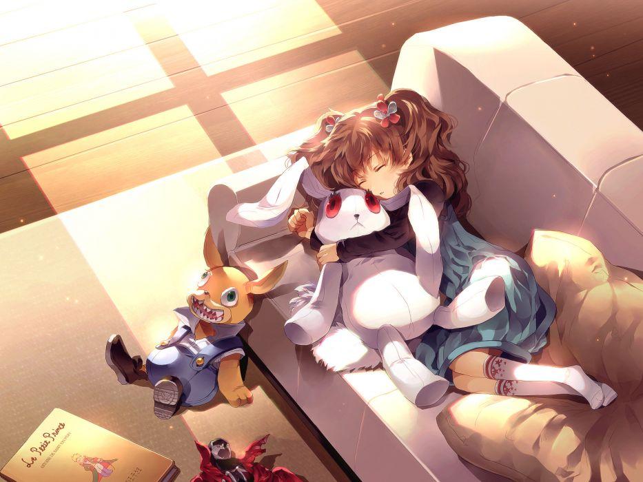 spawn book brown hair bunny cage-close- doll dress hug long hair sleeping socks spawn sunakumo twintails wallpaper
