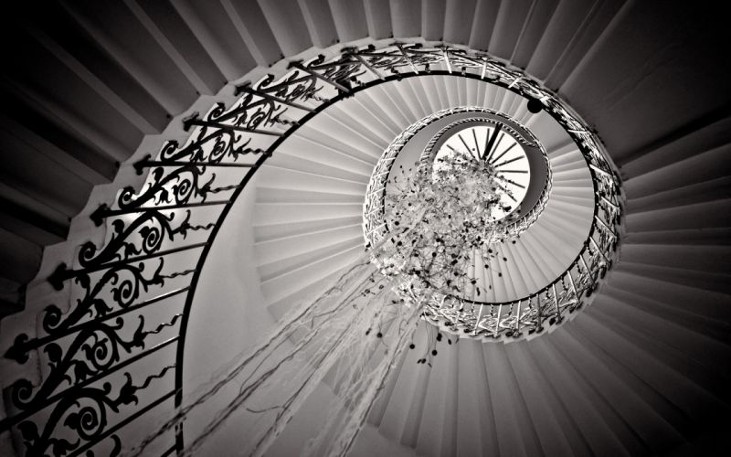 Stairs Staircase B-W Spiral wallpaper