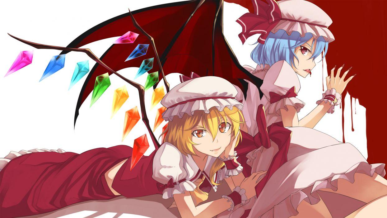 touhou fang flandre scarlet nana niwatori remilia scarlet touhou vampire wings wallpaper
