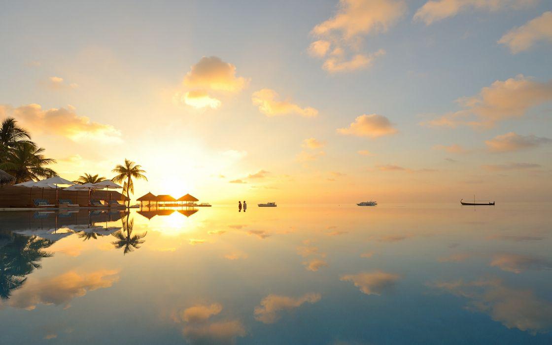 Tropical Pool Reflection Sunset Sunlight wallpaper