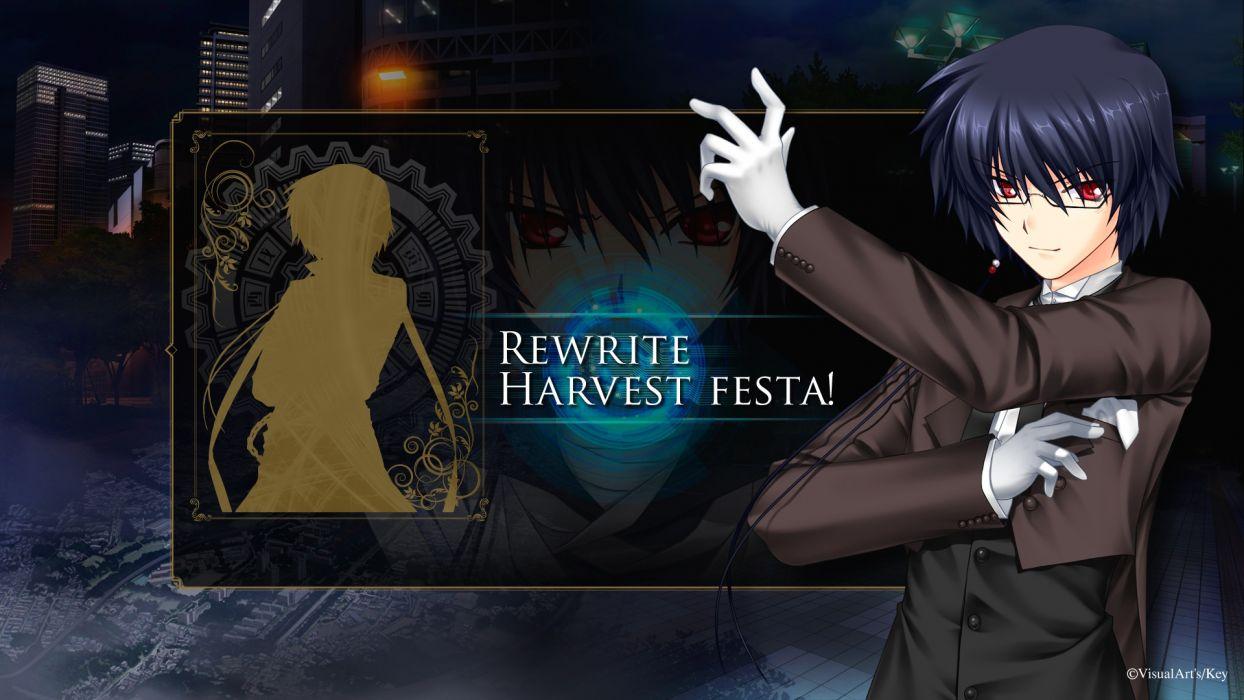 rewrite black hair glasses gloves key male ohtori sakuya red eyes rewrite short hair visualart wallpaper