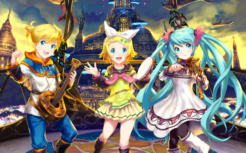 vocaloid blonde hair blue eyes blue hair bow hatsune miku instrument kagamine len kagamine rin nagimiso vocaloid wallpaper