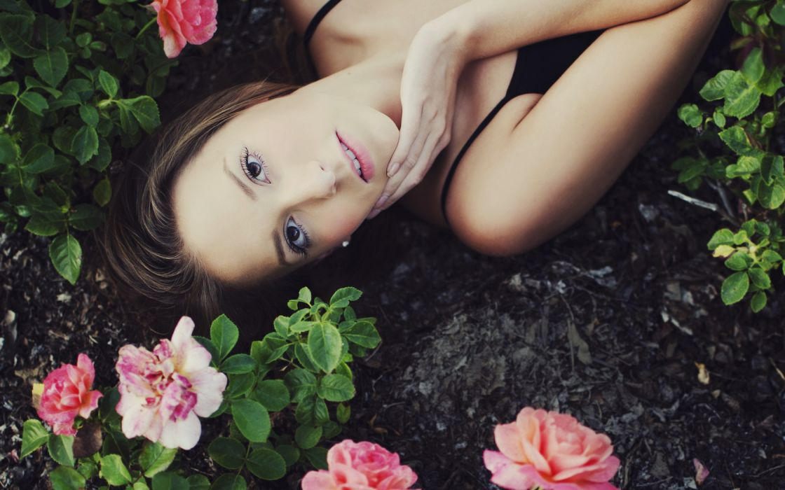 Girl Roses Brown Eyes Hair Beauty wallpaper