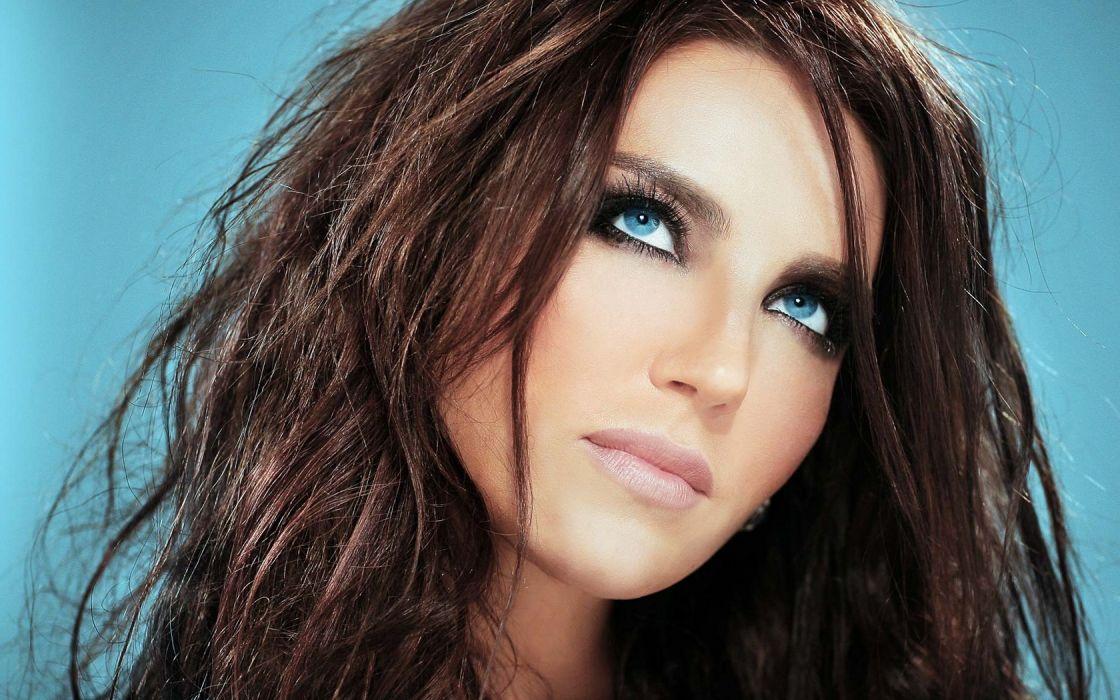 Brunette Blue Eyes Girl Beauty wallpaper