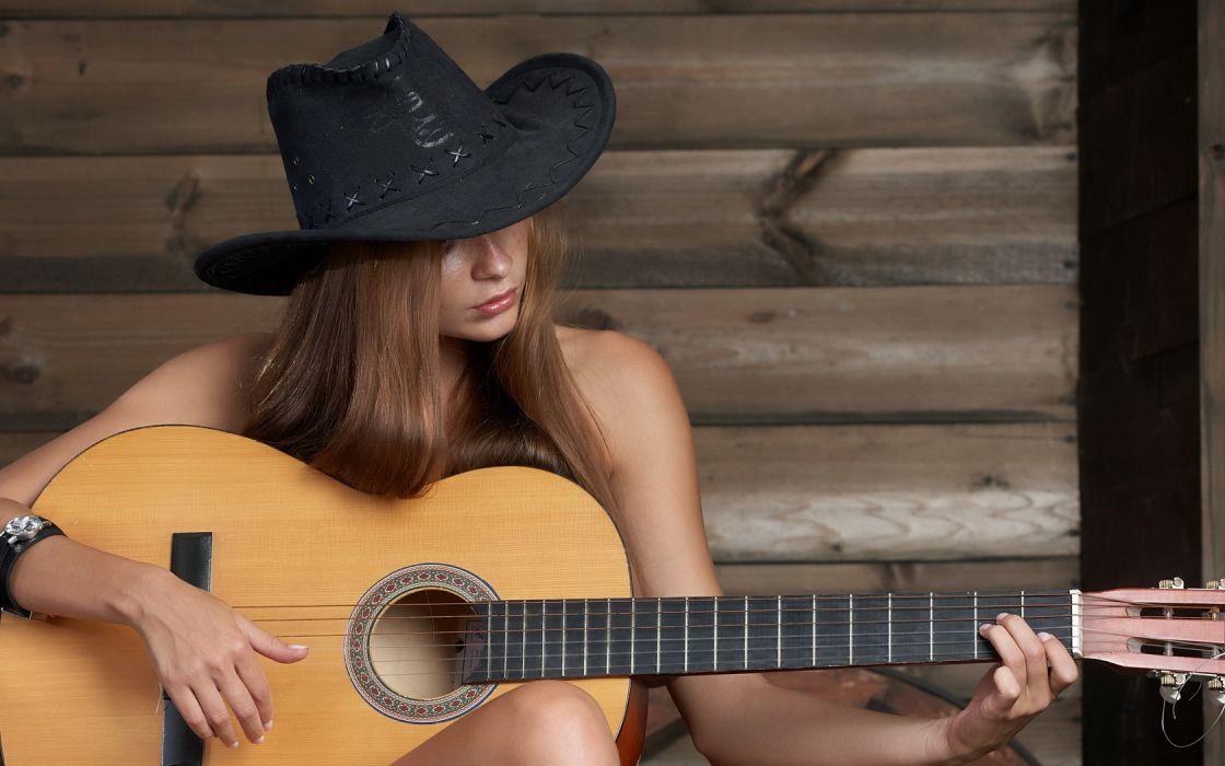 Girl Guitar Black Hat Brunette Beauty wallpaper