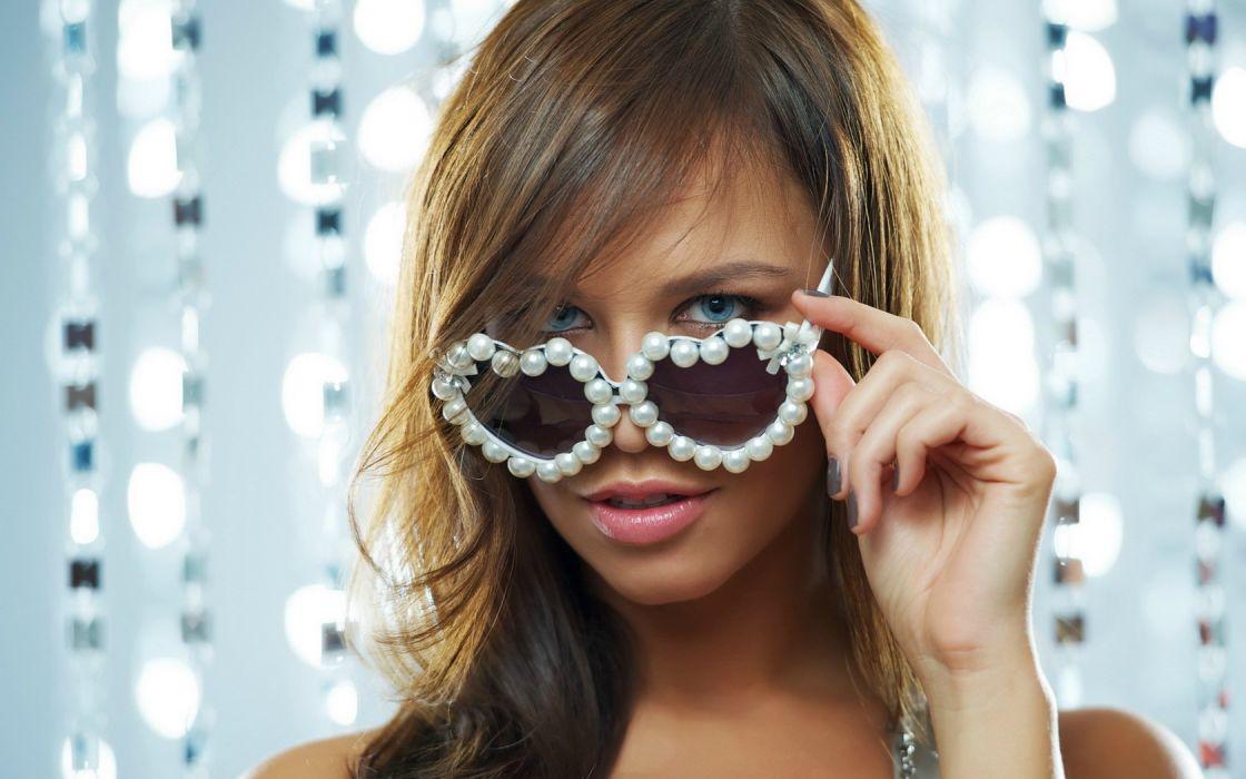 Girl Beauty Blonde Blue Eyes Glasses wallpaper