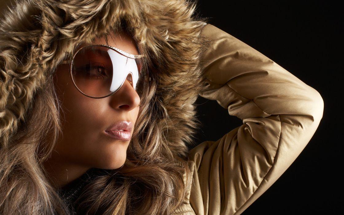 Woman Beauty Blonde Brown Eyes Glasses Fur wallpaper