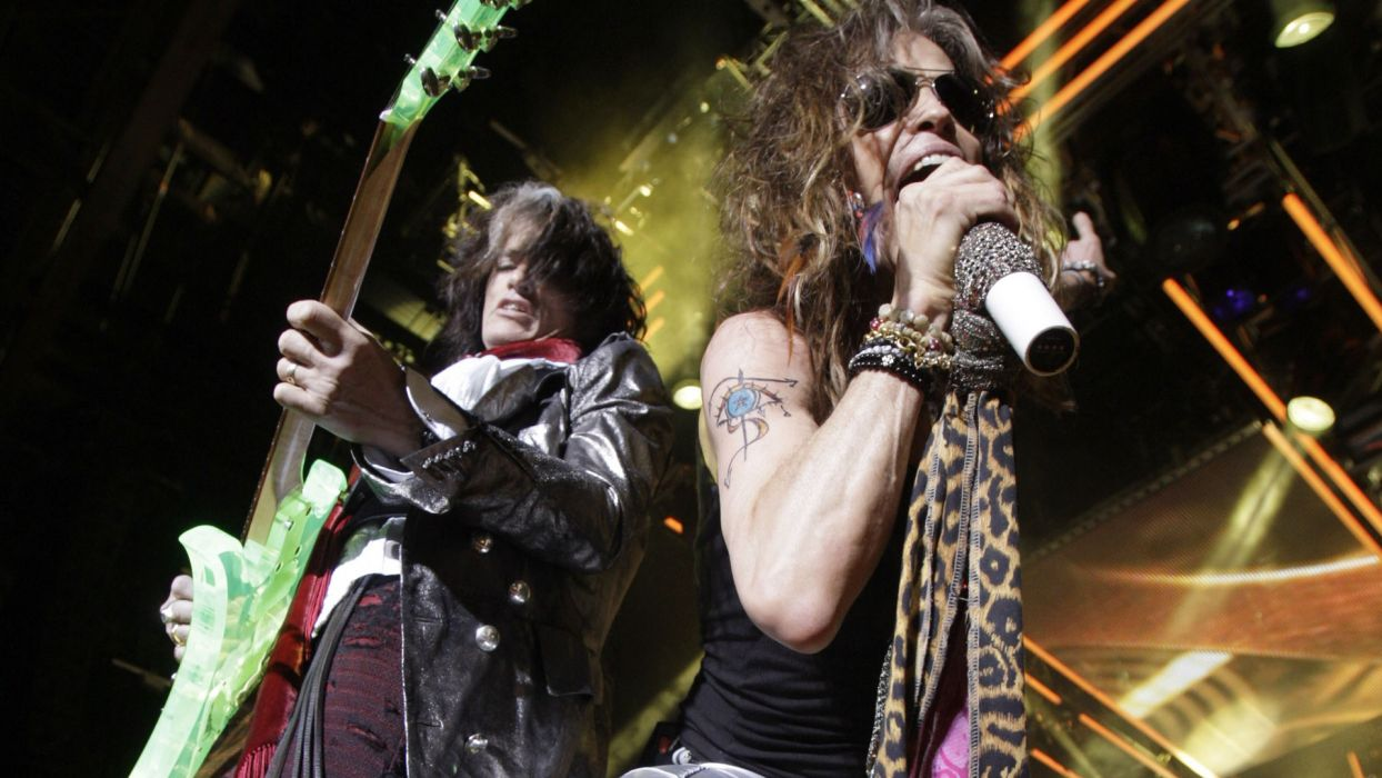 AEROSMITH hard rock heavy metal microphone concert concerts guitar guitars wallpaper