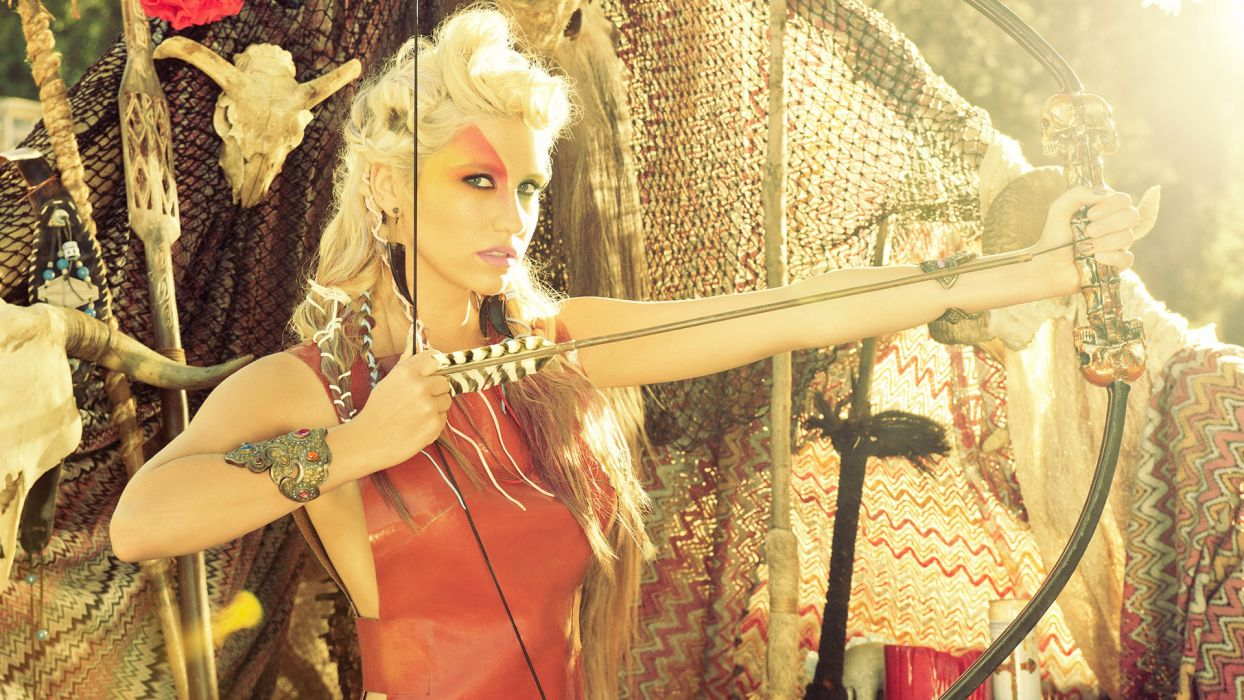 KESHA pop hip hop electronic dance women blonde blondes bow archer fantasy wallpaper