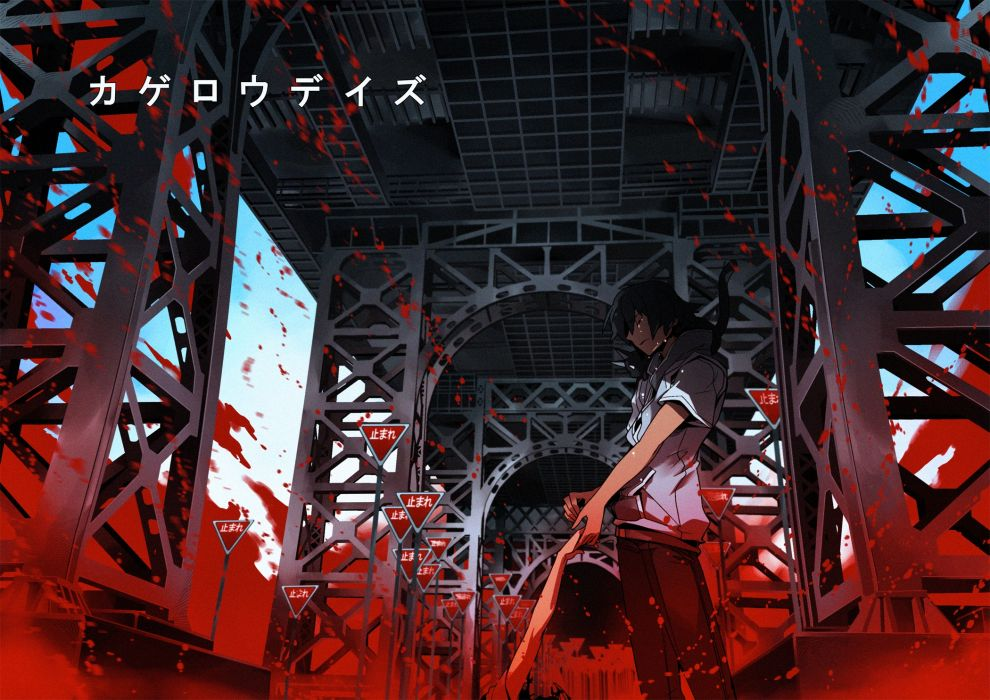 kagerou project black hair blood wallpaper