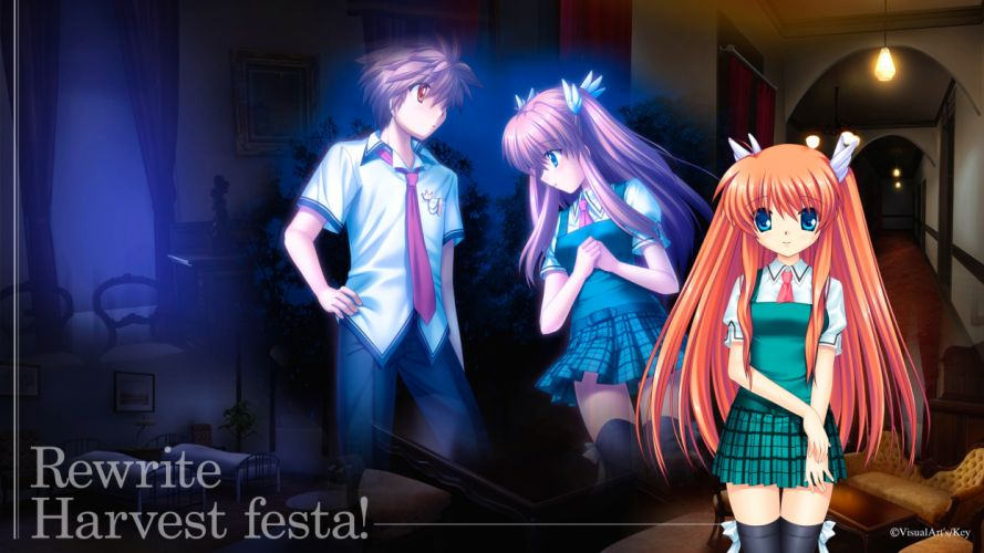 rewrite blue eyes key long hair ohtori chihaya orange eyes red hair seifuku tennouji kotarou wallpaper