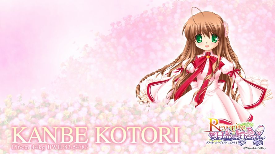 rewrite bow brown hair green eyes kanbe kotori key long hair rewrite seifuku wallpaper