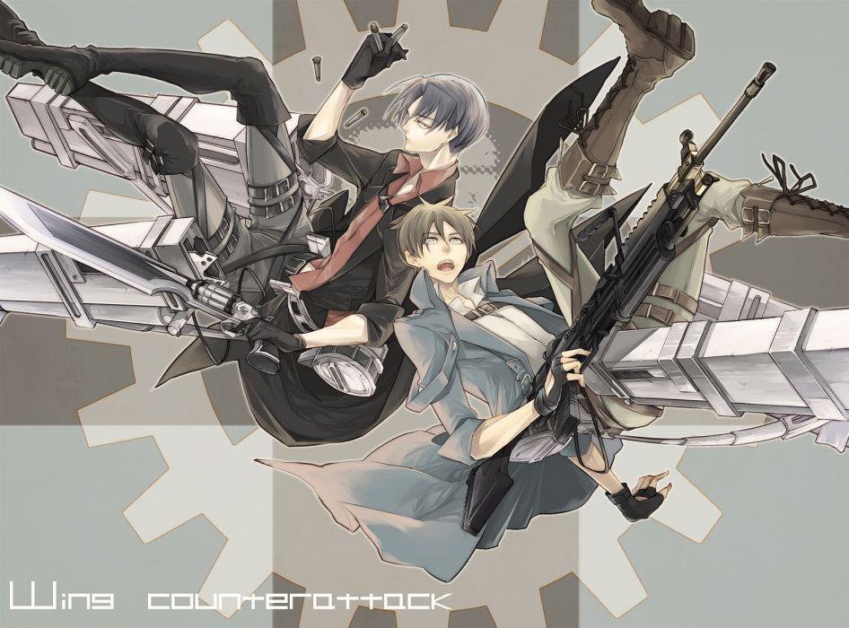 shingeki no kyojin boots eren jaeger gun male q-xxx-d rivaille weapon wallpaper