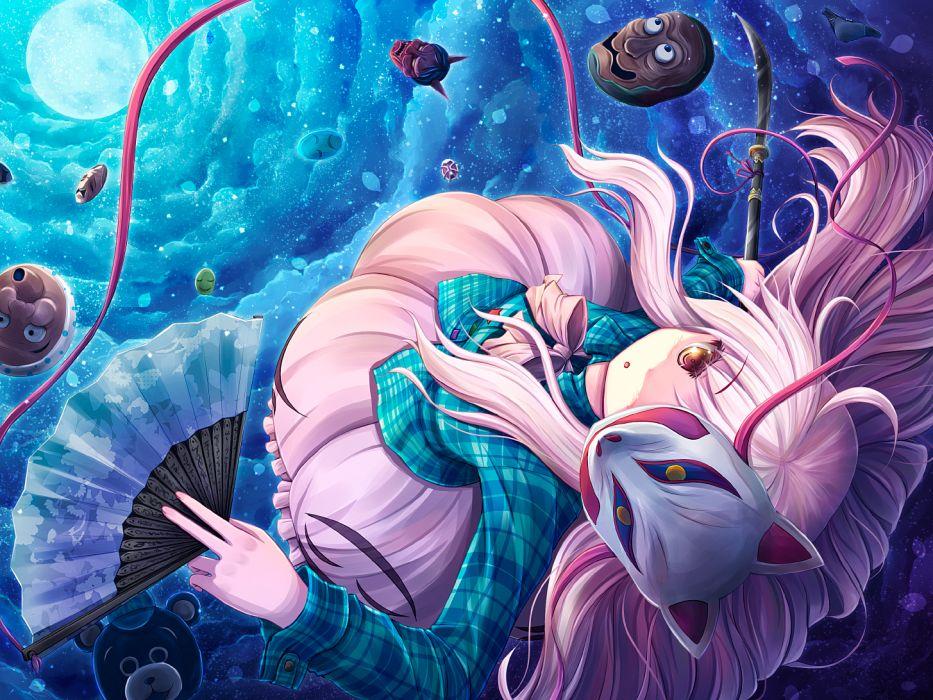 touhou akashio hata no kokoro mask moon pink hair wallpaper