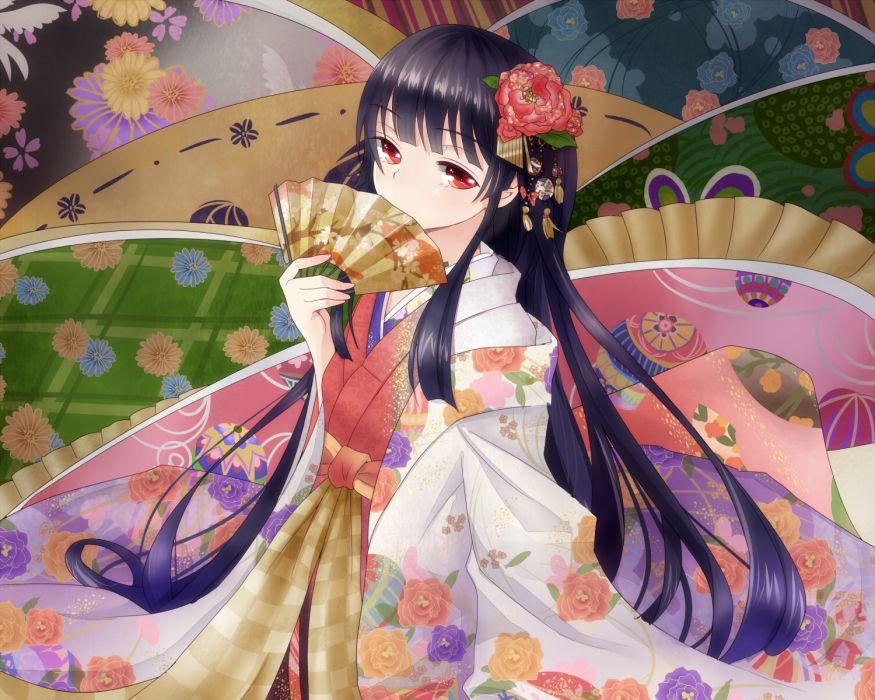 touhou black hair houraisan kaguya japanese clothes kimono long hair shironeko yuuki touhou wallpaper