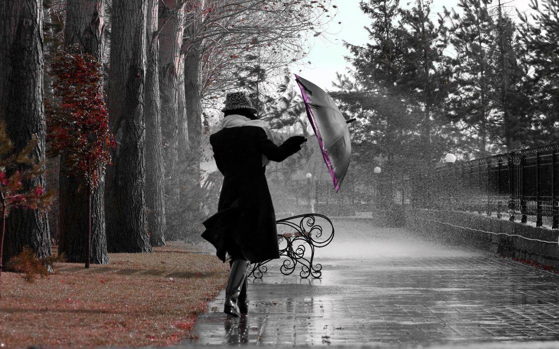 storm rain drops umbrella women autumn mood wallpaper