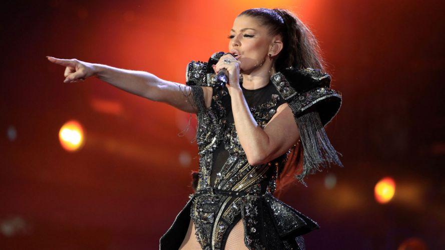 FERGIE r-b hip hop pop women black eyed peas microphone concert concerts f wallpaper