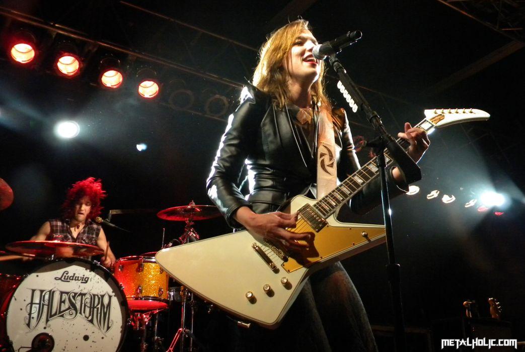 HALESTORM Hard rock alternative-rock alternative-metal alternative lizzy microphone guitar concert guitars concerts wallpaper
