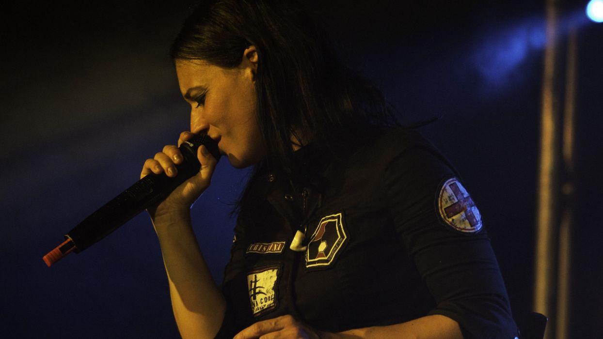 LACUNA COIL Cristina Scabbia hard rock microphone concert concerts wallpaper