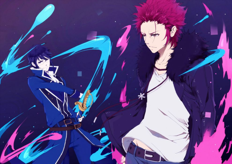 K-anime blue eyes blue hair brown eyes glasses jyumale munakata reishi red hair suou mikoto (k) sword weapon wallpaper