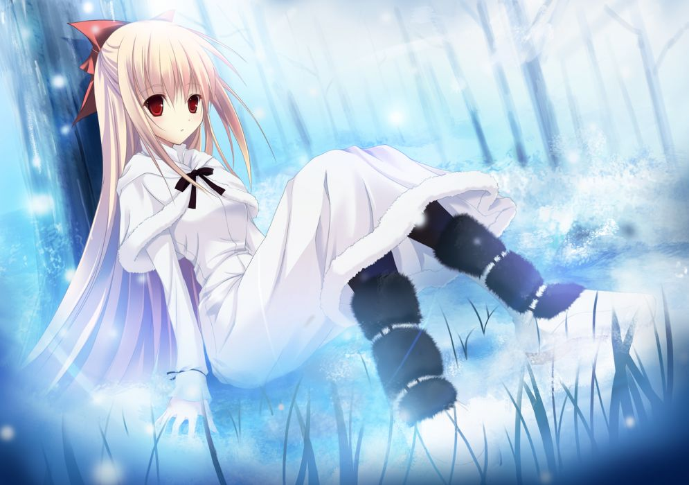 original blonde hair long hair red eyes rito fuyuki wallpaper