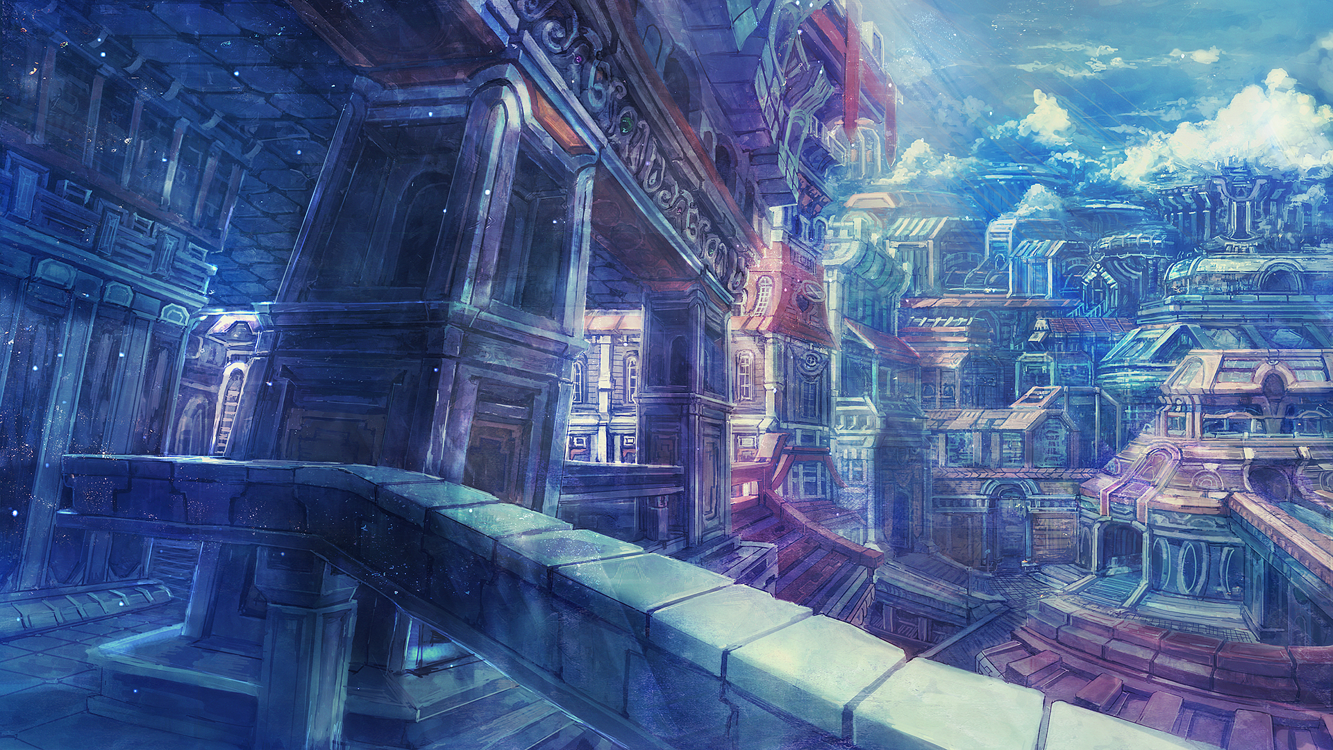 anime background scenery city viewing gallery