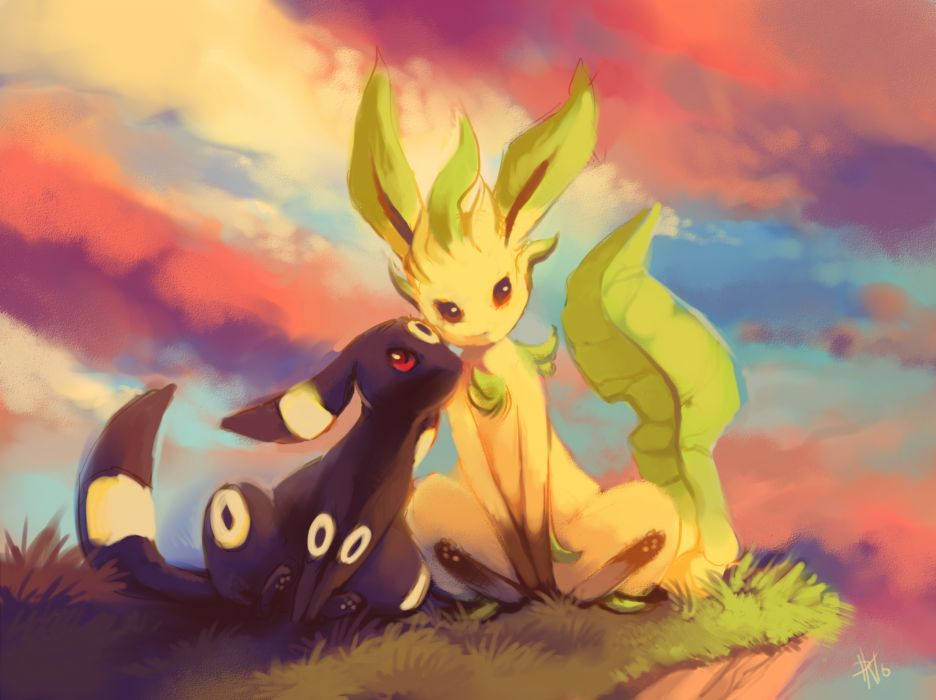 pokemon brown eyes clouds grass leafeon pokemon purple kecleon red eyes signed sky sunset tail umbreon wallpaper