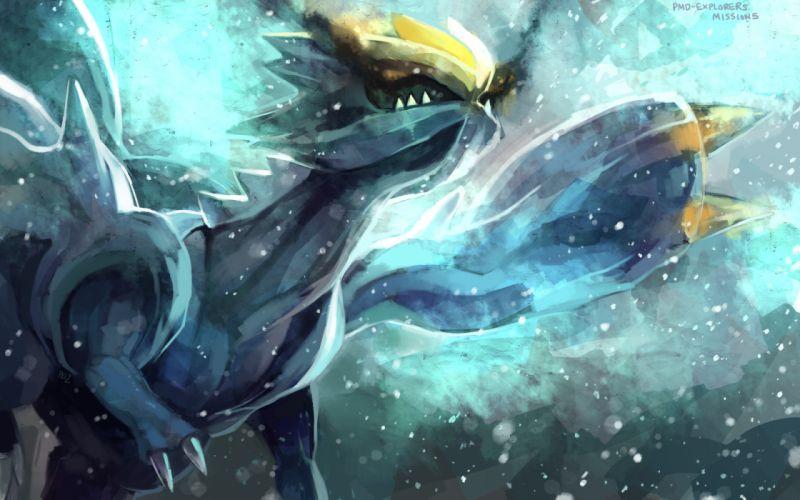 pokemon dragon kyurem purple kecleon wings yellow eyes wallpaper