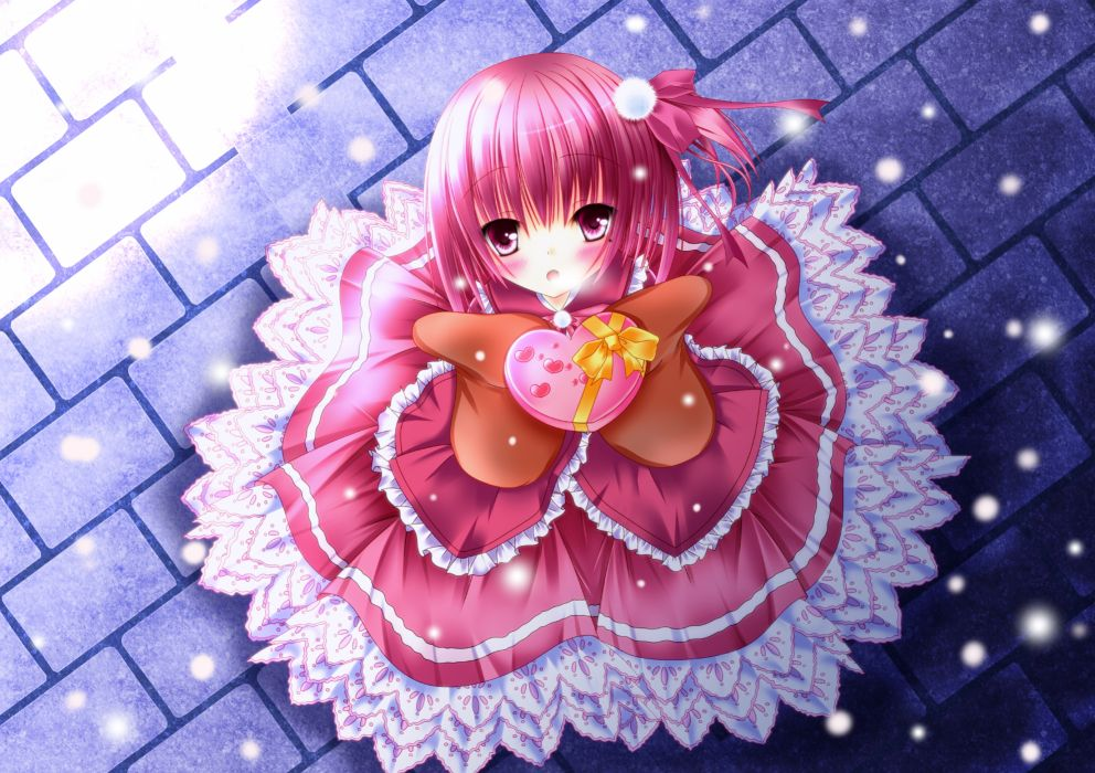 ro-kyu-bu! dress kino minato tomoka pink hair snow valentine wallpaper
