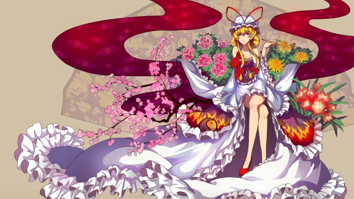 touhou blonde hair flowers qin yakumo yukari wallpaper