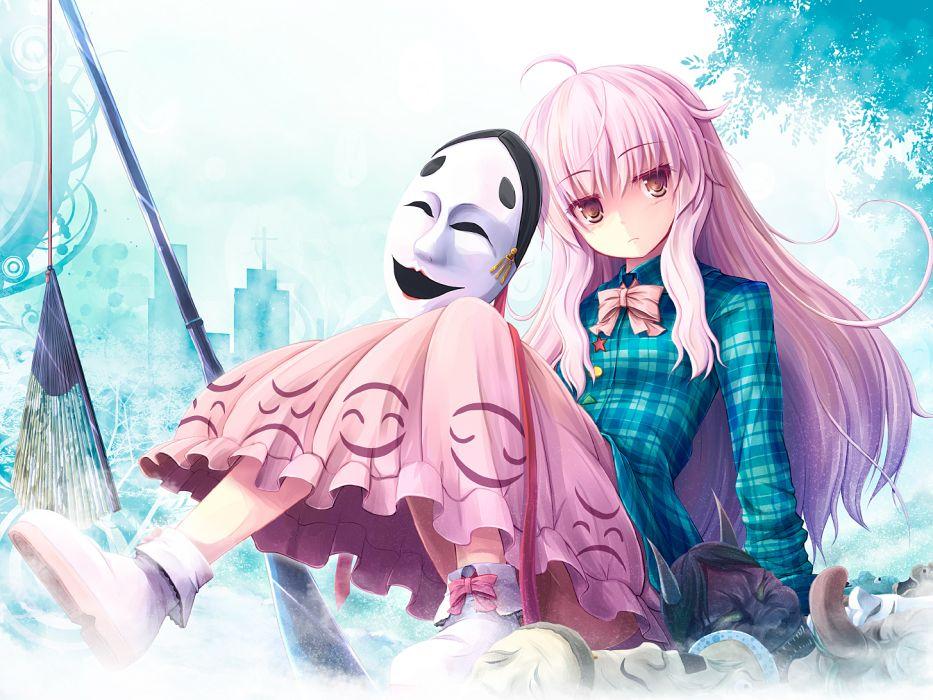 touhou akashio hata no kokoro long hair pink hair wallpaper