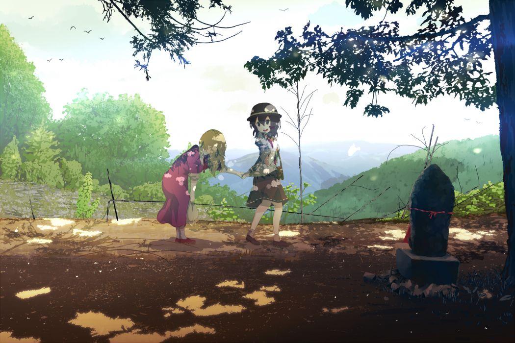 touhou girls maribel han shinta tree usami renko wallpaper