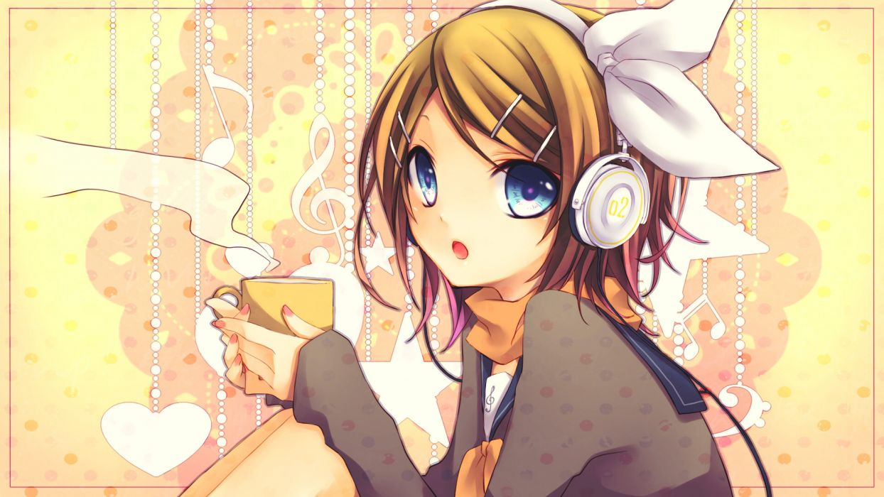 vocaloid drink headphones kagamine rin kuroi scarf yellow wallpaper