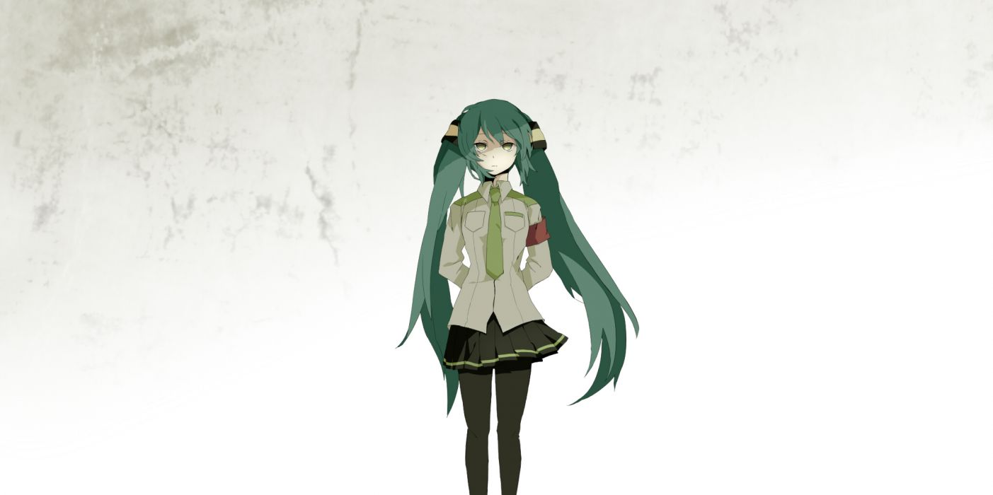 vocaloid green eyes hatsune miku kokoroa skirt tie uniform white wallpaper