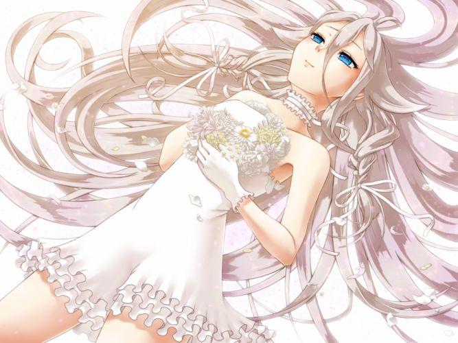 vocaloid blue eyes brown hair choker dress flowers gloves ia long hair nonaka hako petals wallpaper
