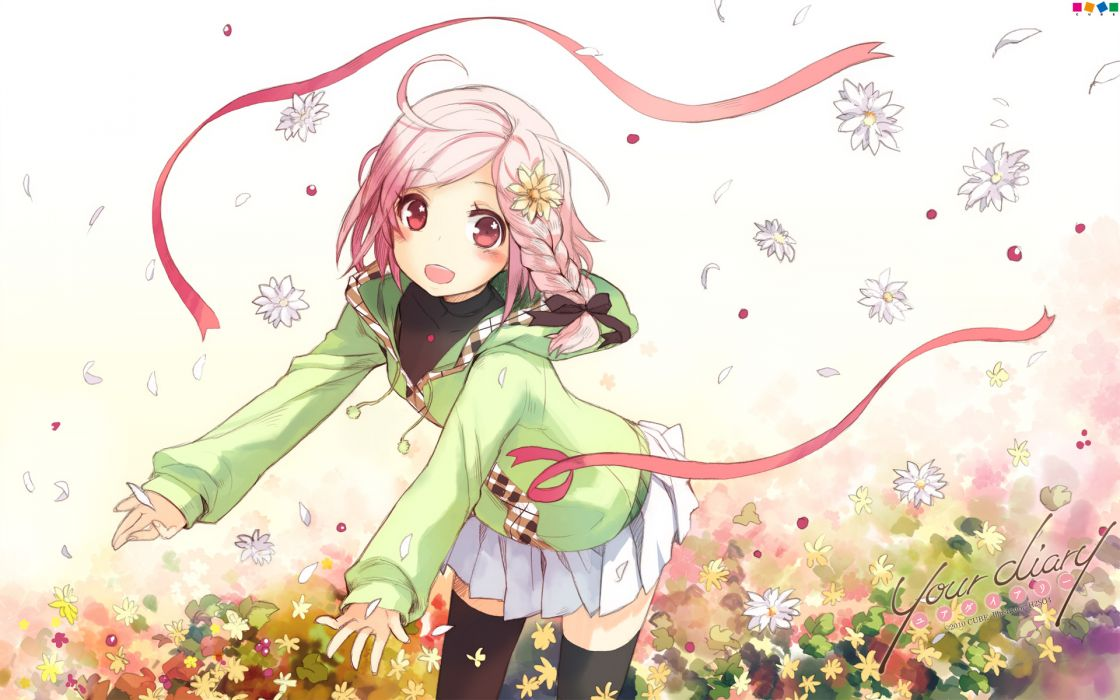 your diary flowers pink hair yua wallpaper