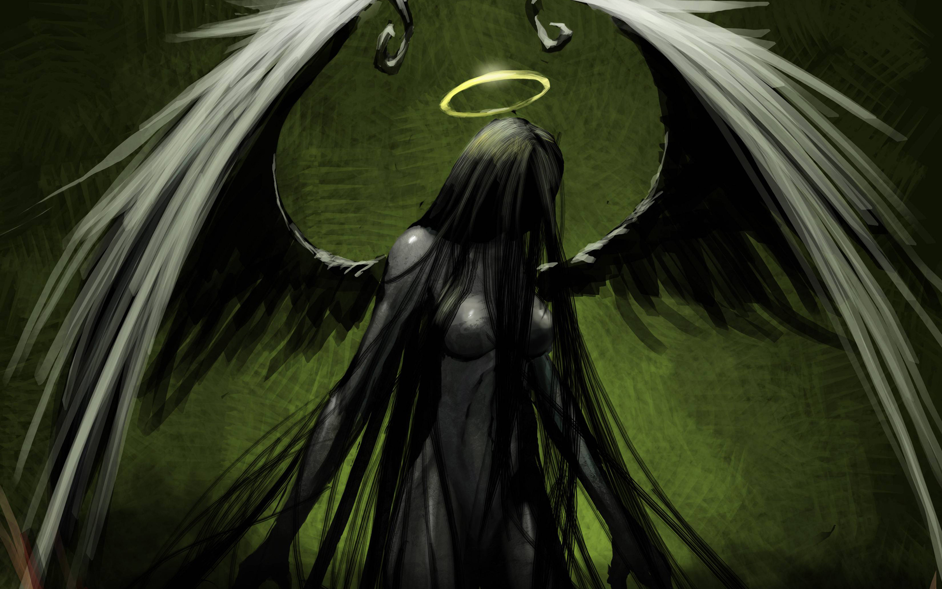 Angel Green Drawing Halo Wings Gothic Dark Wallpaper